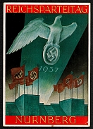 1937 Reich party rally of the NSDAP in Nuremberg, Eagle Soaring in Searchlight Beam
