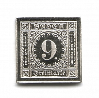1851 Baden 9 Kr (Sterling Silver Miniature, Greatest Stamps of The World)