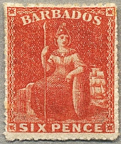 1861-70, 6 d., orange-red, no wmk, LPOG, rough perf. 14-16, fresh and perfectly