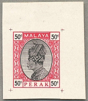 1935, 50 c, carmine and black on white paper, single sheet imperforated PROOF, h