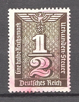 1930-40 Third Reich Fiscal Tax Revenue Stamps Swastika 1/2 Rm (Cancelled)