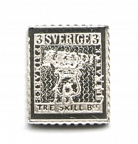 1855 Sweden 3 Sk (Sterling Silver Miniature, Greatest Stamps of The World)