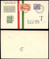 Vatican City First and Pioneer Flight Covers June 11, 1931, FFC Rome-La Valetta