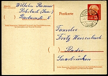 Saar 1957 - 12 F orange postal stationery card