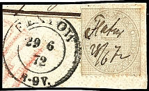 10 Gr. Grey, as usual perforated stamp with stroke of pen cancellation and