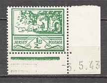 1943 Germany Occupation of Jersey 1/2 D (Control Text Date `3.5.43`, MNH)