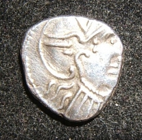 Ancient Celtic Gaul Rhone Valley AR Denarius coin Roma head/horseman 5820 VF-EF