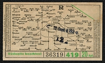 1936 Illustrated streetcar ticket from the Nuremberg Hauptbahnhof (main railroad station) to the Party Rally Grounds