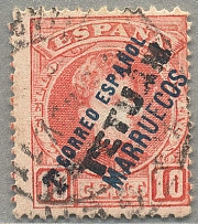 1908, 10 c., red, provisional DOUBLE overprint, used, VF! Estimate 800€.  Automa
