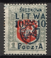 1920 Central Lithuania 10 M (CV $120, Signed)