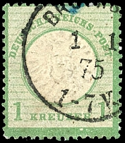 1 Kr. Yellowish green, plate flaw VI, in the best way clear embossed stamp