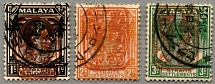1942, 1 to 3 c., with red opt/type 15/Malaya