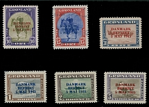 Greenland 1945 King Christian X, Fauna, Liberation overprints in reversed colors