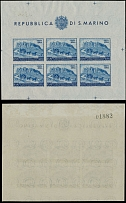 San Marino, AIR POST STAMPS, 1950, 75th Anniversary of the UPU, 200L, minisheet