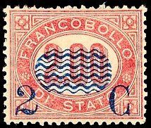 2 C. On 2, 00 L. Dark lilac red, unused with original gumming, reverse in the