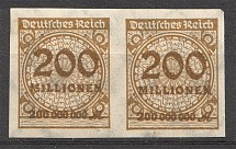 1923 Germany 200 Millions Pair (Imperf, Signed, CV $150)