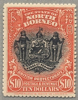 1911, 10 $, black and brick-red, perf. 13 1/2, MH, very fresh, scarce stamp, VF!