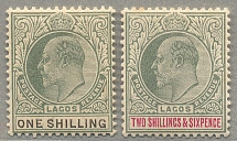1904, 1 s., + 2 s. 6 d., (2), green and black/carmine, wmk CA, perf. 14, LPOG, o