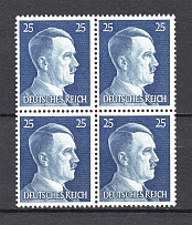 1941 25Pf Third Reich, Germany (Nevus on the Forehead, Print Error, Block of Four, MNH)