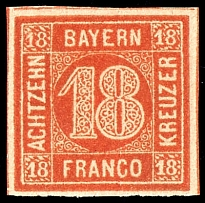 18 kreuzer orange red, having full margins and having bright colors extremely