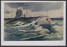 1944. Postcard Submarine on a combat course