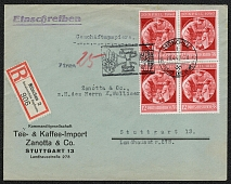 1940 Registered cover with Block of four franked and Special postmark Fuehrer's birthday