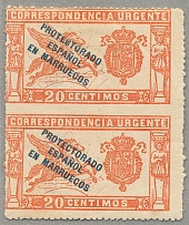 1915, 20 c., red, vertical pair, center imperforated, light creases, MH, VF! Est