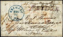 "1851, entire letter from ""BETHANY VA DEC.11"" via New York with tax mark ""19"""