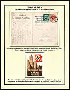 "1933 Reich party rally of the NSDAP in Nuremberg, Enlargement of the uncatalogued ""RDPJH"" label on the post card."