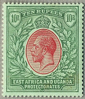 1912-31, 10 r., red and green/green, wmk Mult. Crown CA, perf. 14, minor gum ton