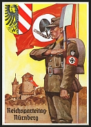 1938 Reich party rally of the NSDAP in Nuremberg. NS armorial shields surrounding an eagle RARE card