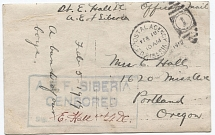 1919. American Expeditionary Force in Siberia. Open letter. A beautiful open letter with the calendar stamp of the US