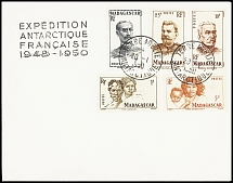1950 Envelope franked by various Madagascar adhesives and tied by TERRE ADELIE 2
