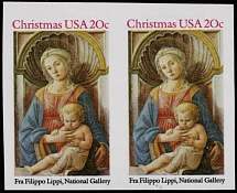 1984, Christmas issue, Madonna and Child, 20c multicolored, horizontal imperforated pair, left stamp with slight vertical crease as often exists