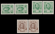 Russian Empire, 1913, Romanov Dynasty, 2k green, vertical and horizontal pairs