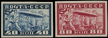 Soviet Union MOSCOW ZEPPELIN FLIGHT ISSUE: 1930, 40k and 80k , imperf set