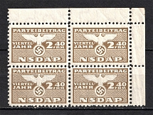 1939-44 2.40Rm Cinderella `NSDAP` Membership Fee, Germany (Block of Four, MNH)