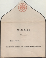 stamped personalized (Prince Herman of Saxony) envelope for telegrams