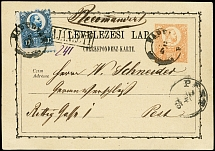 Postal stationery: 1871, Card 2 kr. with additional franking Engraved issue 10