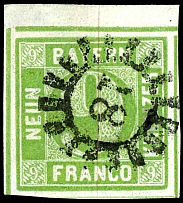 9 Kr. Yellow green, with left upper corner of the sheet, centric cancellation