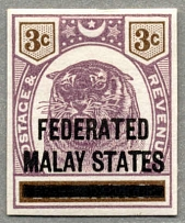 1900, 3 c. in dull purple and brown, on PAHANG with black opt FEDERATED MALAY