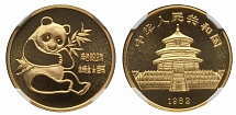 PRC 1982, Panda, the first issue, MS condition, gold medal of ¼ oz (0.999 gold)