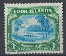 Cook Is 1945 3s multiple wmk centre doubled variety f mint