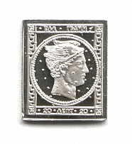 1861-62 Greece  20 L (Sterling Silver Miniature, Greatest Stamps of The World)