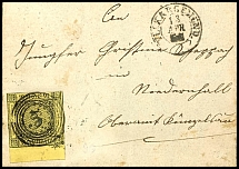 3 Kr. Black on yellow with 7 mm wide lower margin on folded letter from five