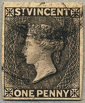 1872/75, 1 d., black, watermark UPRIGHT, variety IMPERFORATE, good to large marg