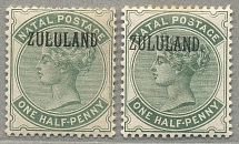 1888, 1/2 d., dull green (without stop) + (with stop), (2), both great condition