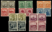 Egypt, 1914, Definitive issue, Pyramids, cplt set of ten imperf proofs in pairs