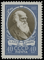 Soviet Union 1959, Charles Darwin, 40k blue and brown