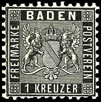 1 kreuzer black, in perfect condition mint never hinged, outstanding quality,